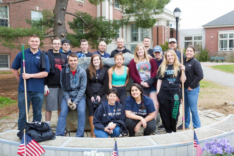 MBS Corps and UMVA volunteering in front of the Memorial Union